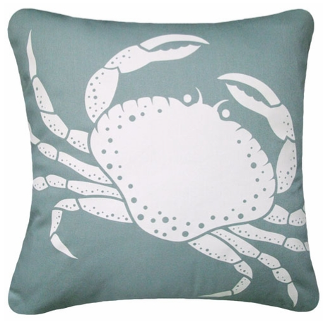 Crab Pillow in Aqua