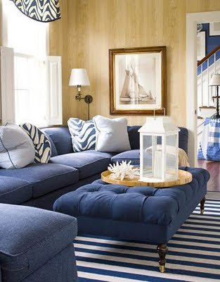 House Beautiful living room with nautical striped area rug