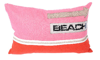 pink and red beach pillow