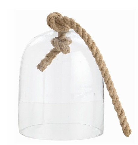 large glass and jute cloche