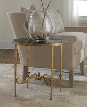 Cottage & Bungalow Wrought Iron and Gilded Round End Table with Black Glass
