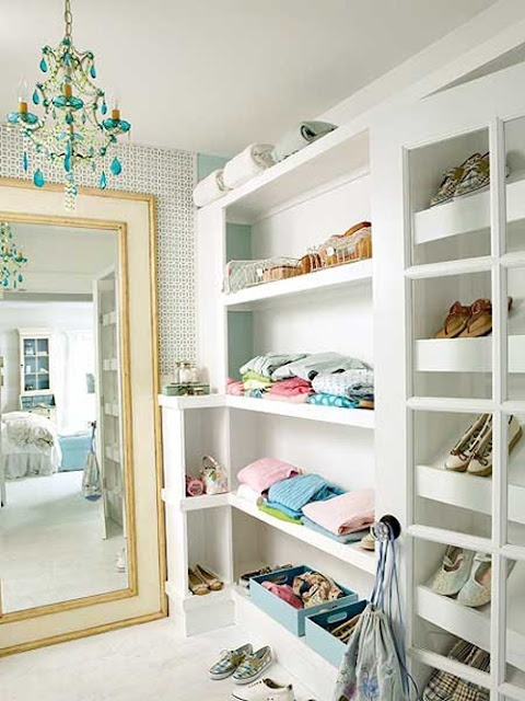 Closet with a chandelier