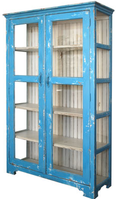 distressed finished blue cabinet