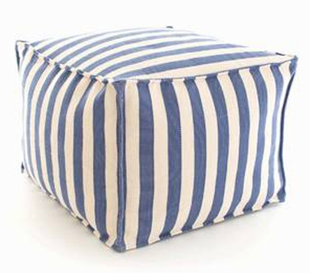 cottage and bungalow blue white striped pouf