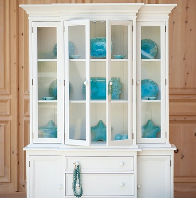 White cabinet with three glass sections