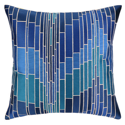 embroidered pillow in blue mosaic