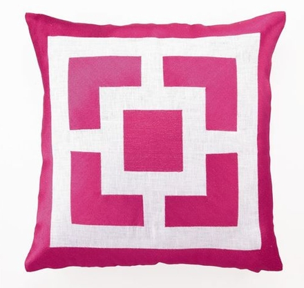 Hibiscus Pink Palm Springs Patterned Pillow