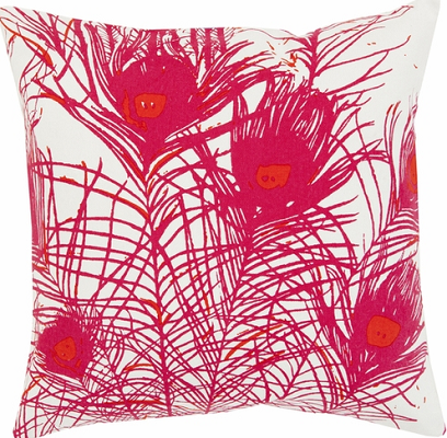 Peacock Feather Pillow in Pink