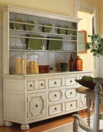 weathered buffet with hutch