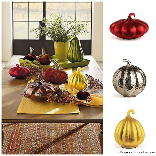 Glass Gourd Collage - These glass gourds from Cottage and Bungalow are the perfect Halloween home decorating idea!