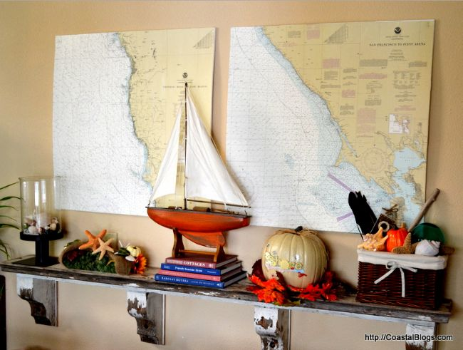 Halloween Beach Home Decorating Ideas - Fall Mantel from NauticalCottageBlog.com