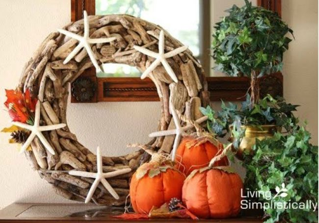 Halloween Beach Home Decorating Ideas -Fall Wreath -Completely-Coastal.com