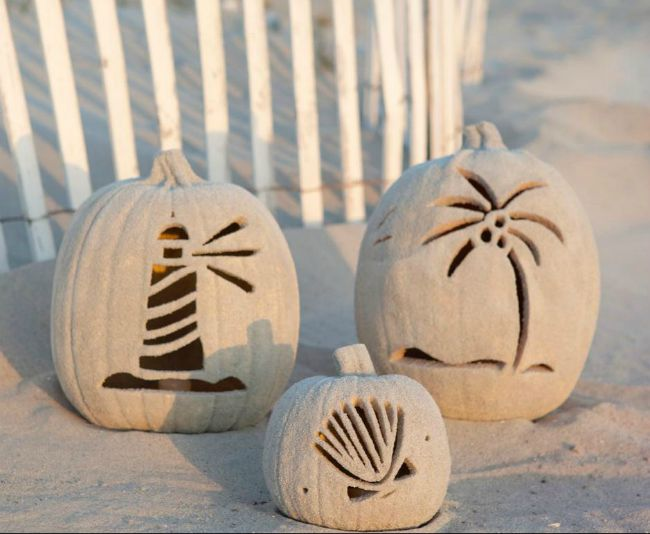 Halloween Beach Home Decorating Ideas - Sandy Beach Pumpkins from DIYNetwork