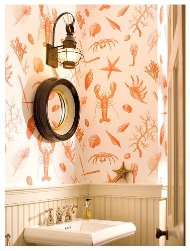 BHG - wallpaper - add a touch of orange to your beach house decor