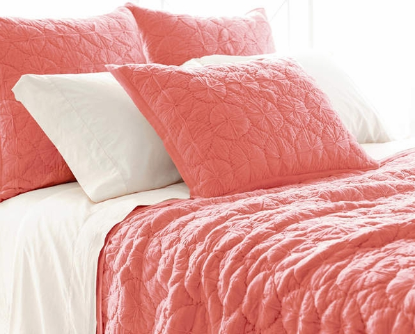 Marina Coral Quilt from Cottage & Bungalow - Brighten up your beach themed bedroom