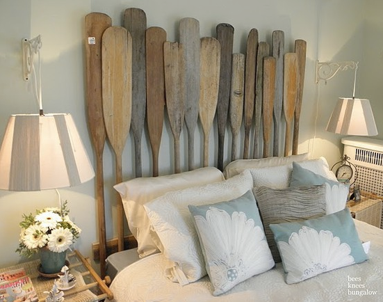 Oar headboard - An easy way to bring the beach into your bedroom.