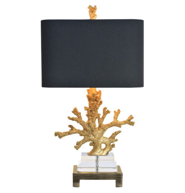 gold coral lamp from Cottage and Bungalow
