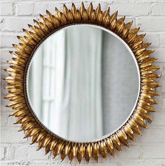 sun mirror in antique gold from Cottage and Bungalow