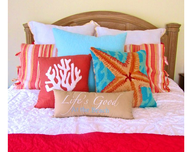 Beach Themed Bedding Ideas - beach pillows
