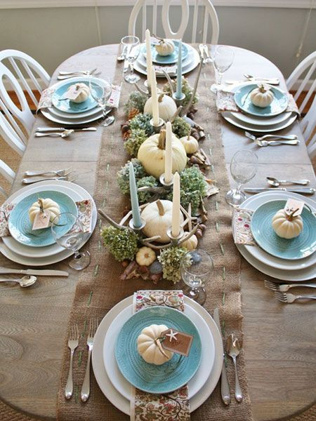 simple thanksgiving tablescapes - beachy