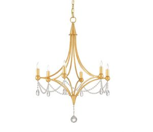 Etiquette Chandelier in Antique Gold Leaf