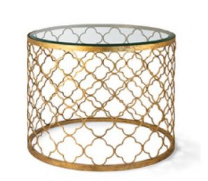 Quatrefoil Glass Top Table in Gold Leaf or Brushed Nickel