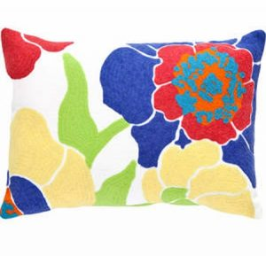 Dash and Albert Poppy Fuchsia/Blue Indoor/Outdoor Pillow