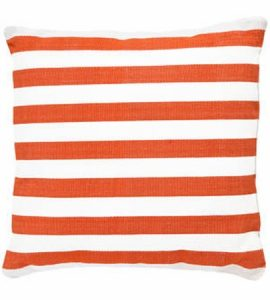 Dash and Albert Trimaran Stripe Tangerine/White Indoor/Outdoor Pillow