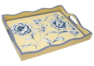 Handpainted Blue/White Flowers on Yellow Tray