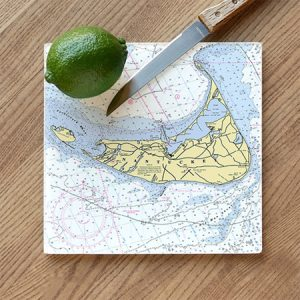 Nautical Map Glass Cutting Board - Customize your Location NEW