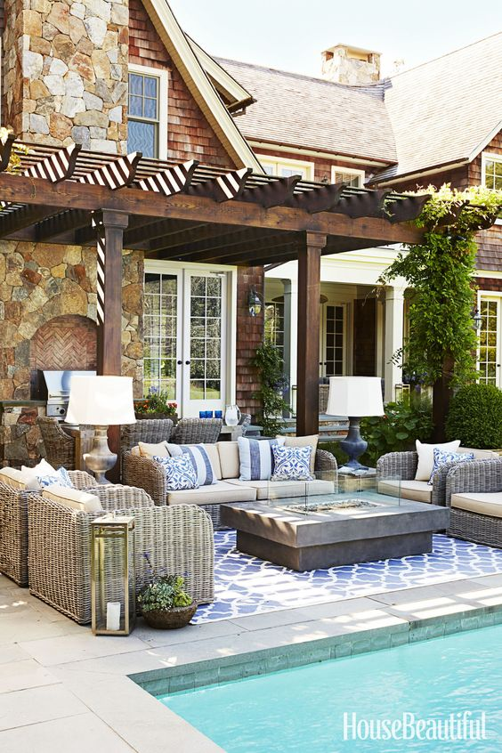 pool pavilion ideas seating