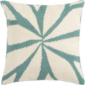 Ivory and Teal Star Pillow