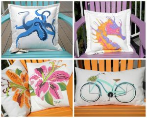 Hand Painted Outdoor Pillows