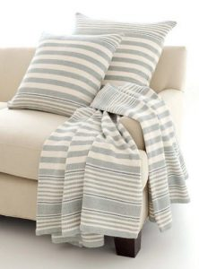 Rugby Stripe Light Blue Woven Cotton Throw